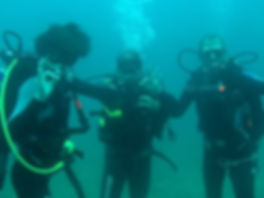 Underwater scuba divers in Manta, Ecuador