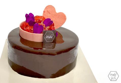 Mousse cioccolato fondente e ganache ai lamponi
