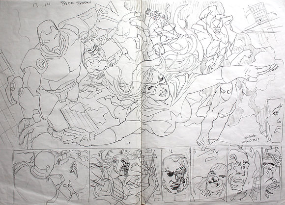 The Avengers and other superheroes | Layout sketch (2012)