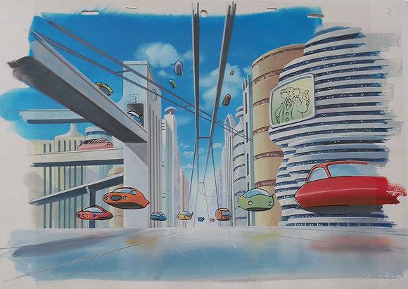 Tetsuwan Atomu/Astro Boy, City landscape feat. Dr. Ochanomizu/Elefun (1980-1981)