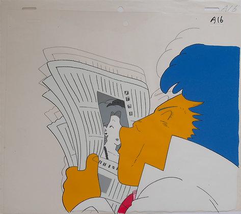 Dr. Slump, Dr. Mashirito kissing Midori Yamabuki on a newspaper (1981-1986)