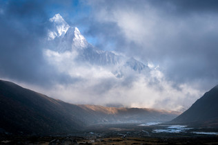 Ama Dablam Through Clouds