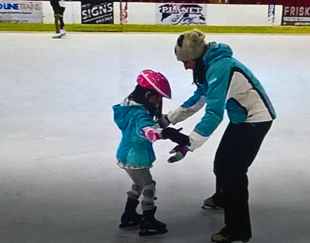 Emily learning to skate at Ryde Arena
