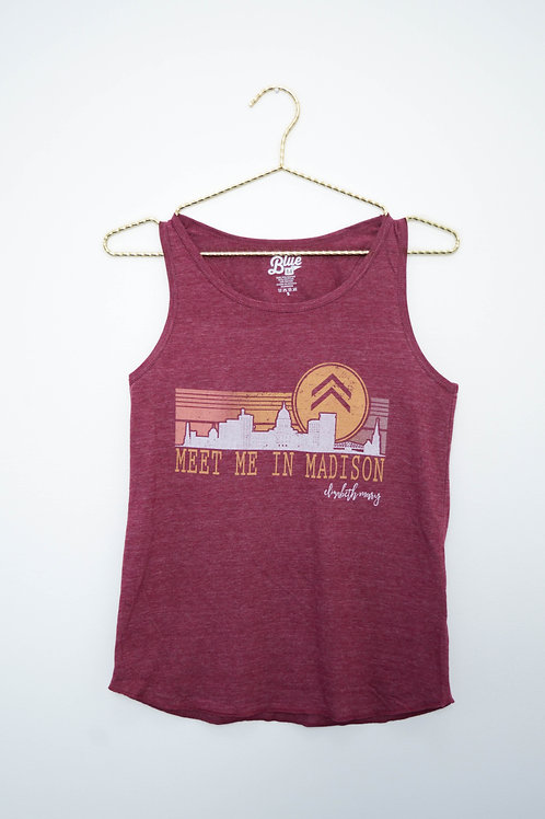Meet Me in Madison Skyline Ladies Tri-Blend Racerback Tank