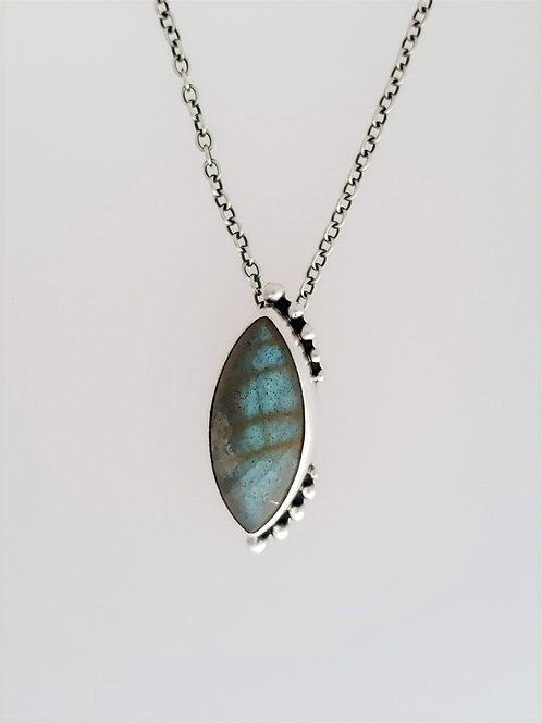 Labradorite Pendant with Silver Accents