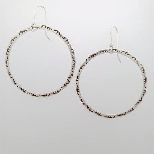 Large silver stamped Cloud Hoop Earrings