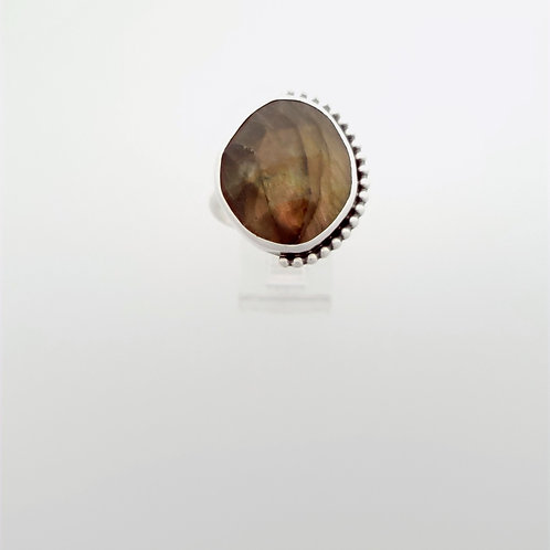 Brown rose cut Labradorite Ring with asymmetrical silver accents