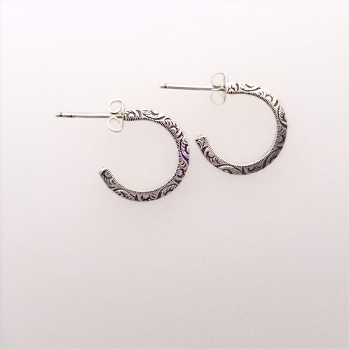 Floral pattern Hoop post Earrings
