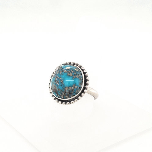 Round Turquoise with Pyrite Ring