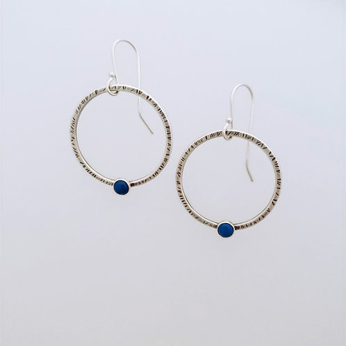 Medium silver textured hoops with Turquoise
