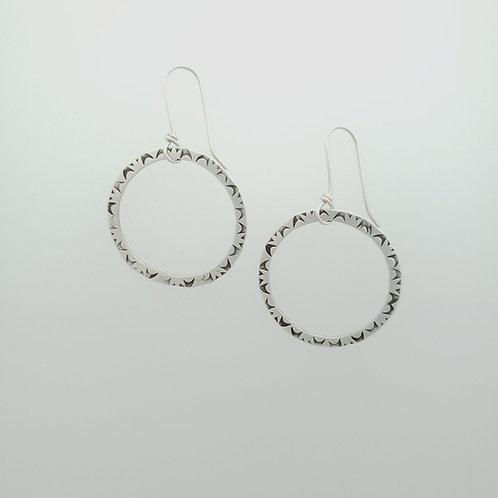 Medium Silver Stamped Hoop Earrings