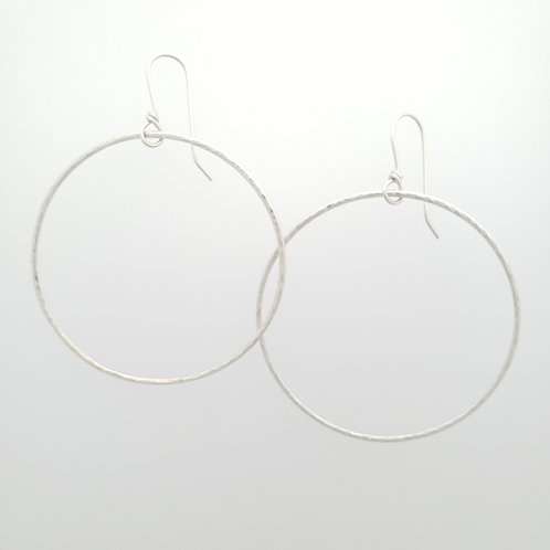Large Sparkly Silver Hoop Earrings
