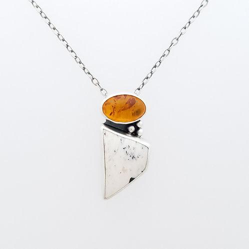 Amber and White Buffalo Turquoise pendant