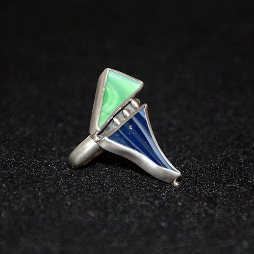 Recycled Green and Blue Mosaic Glass Ring