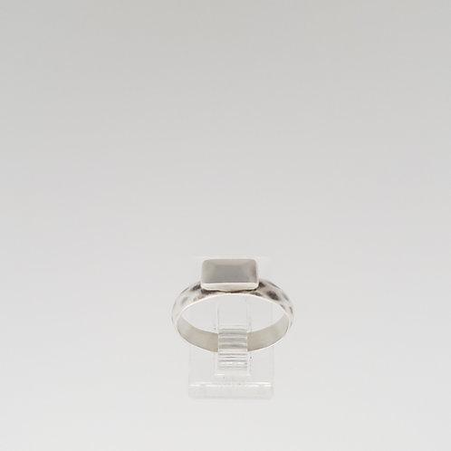 Silver Baguette Ring on diamond pattern band- horizontal