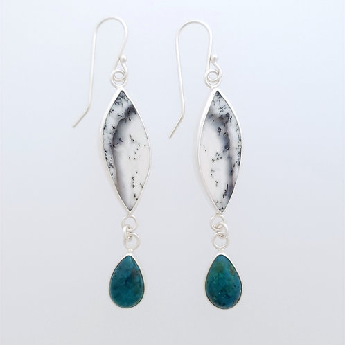 Dendritic Opal with Chrysocolla Drop Earrings