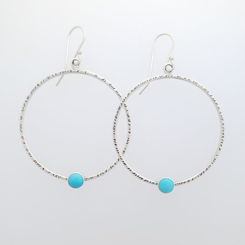Large Textured Hoops with Turquoise
