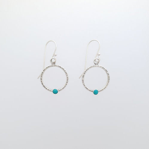 Small silver textured hoops with Turquoise