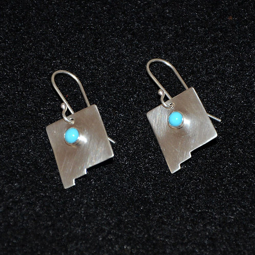 Sterling Silver New Mexico Earrings with Turquoise