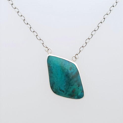Chrysocolla Necklace with stamped design bezel