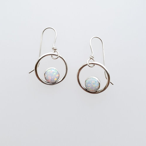 Small sterling silver hoops w/lab created opal