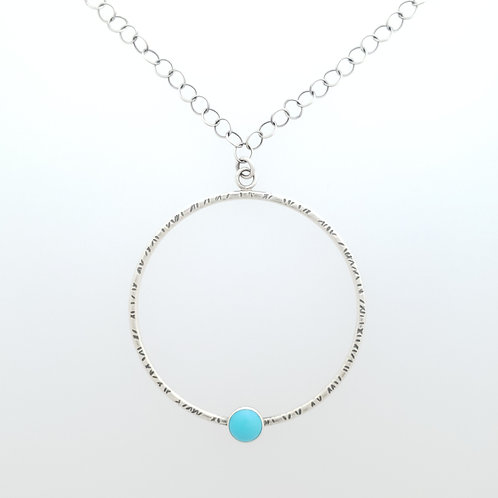 Large Textured Circle Pendant with Turquoise