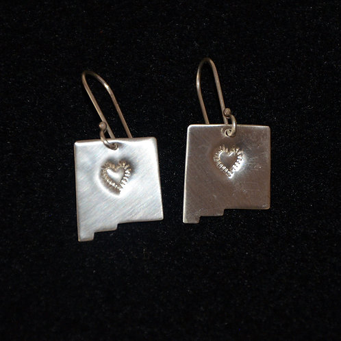 Sterling Silver New Mexico Earrings with Heart Stamp