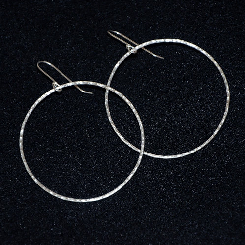 Extra Large Sparkly Silver Hoop Earrings