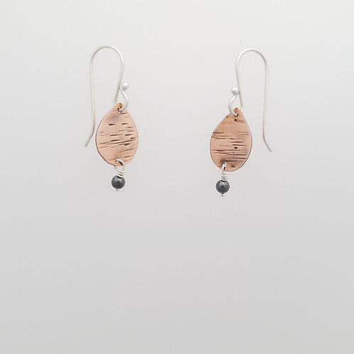 Copper teardrop earrings with Hematite beads