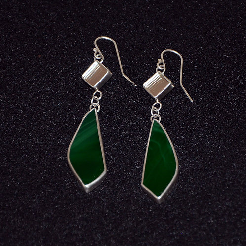 Recycled Mirror and Green Glass Earrings