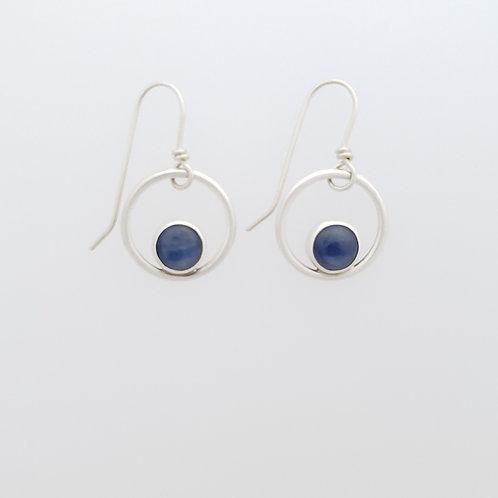 Sterling silver hoop earrings with Kyanite