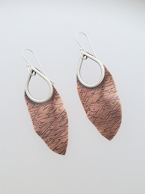 Copper and Silver Leaf Earrings