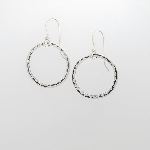 Medium Silver Stamped Wave Hoop Earrings