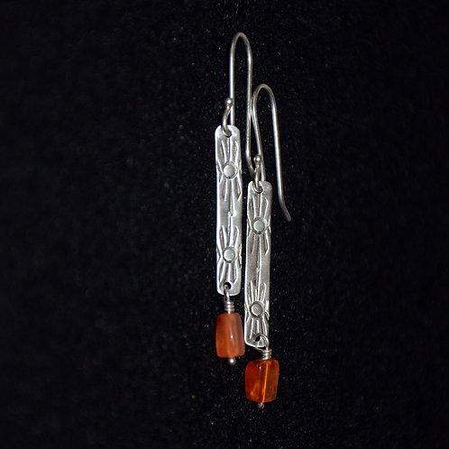 Rectangle Dangle Earrings with Carnelian Beads