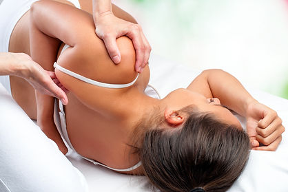 Close up top view of osteopath doing hea