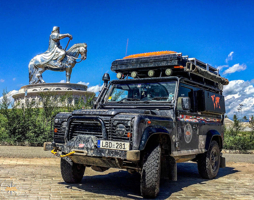 Land Rover Defender At Genghis Khan Statue