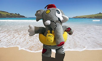 Thom the Elephant Animazombs at the beach