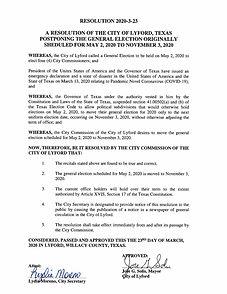 RESOLUTION POSTPONEMENT OF MAY 2 ELECTIO