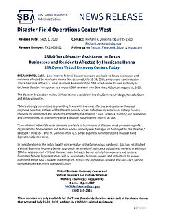 NEWS RELEASE SBA DISASTER ASSISTANCE-1.j
