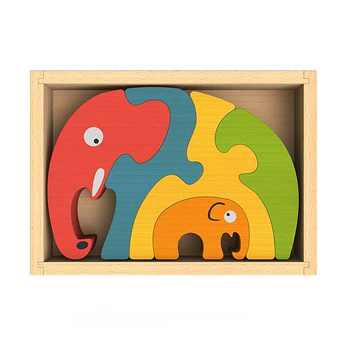 Wooden Elephant Family Puzzle