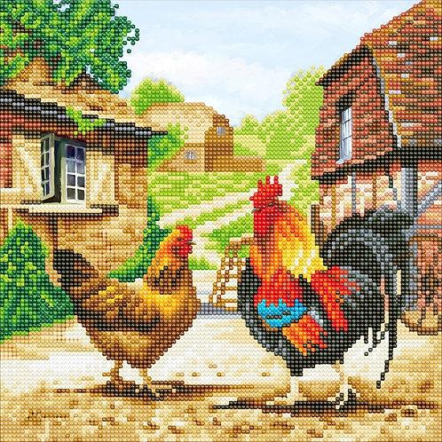 """Crystal Art 12""""x12"""" Farmyard Chickens"""