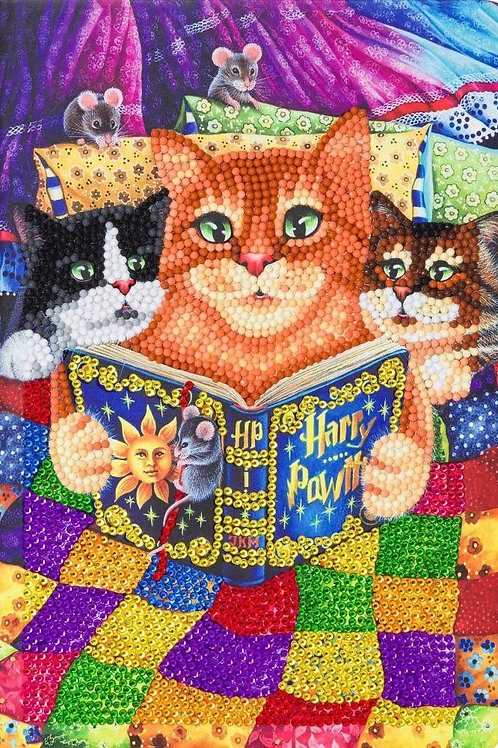 """Crystal Art Notebook 10""""x7"""" Kitty Bedtime Stories"""