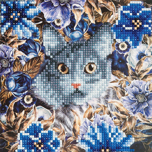"""Crystal Art 12""""x12"""" Cat and Flowers"""