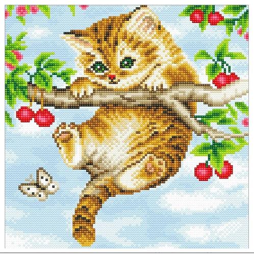 """Crystal Art 12""""x12"""" Cherry Kitten"""