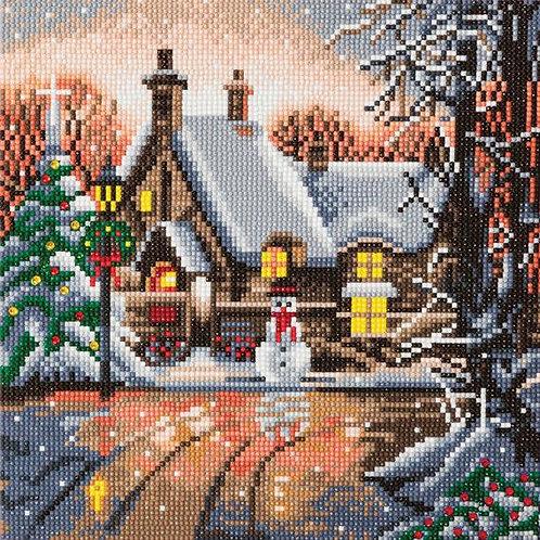"Crystal Art 12""x12"" Snowman Cottage"