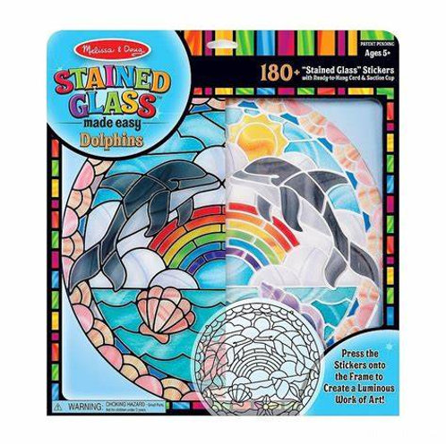 Sticker Stained Glass Dolphins