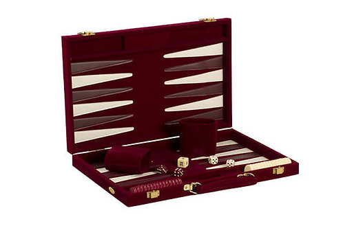 Burgundy Suede Backgammon Set