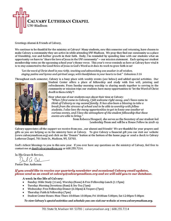 Letter to Alumni and Friends of Calvary | Calvary Lutheran Chapel