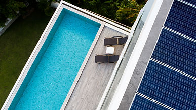 Top view of outdoor swimming pool and so