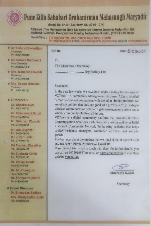 pune district co-operative housing federation certificate of approval for vztrack online agm meetings
